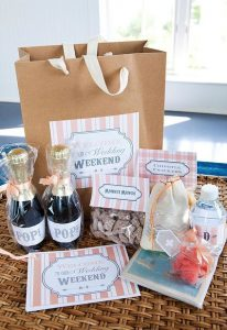 Themed wedding welcome box idea